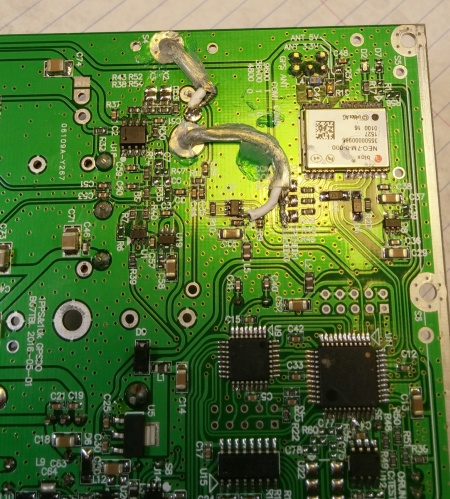 Bottom side of the GPSDO board tapped off signals