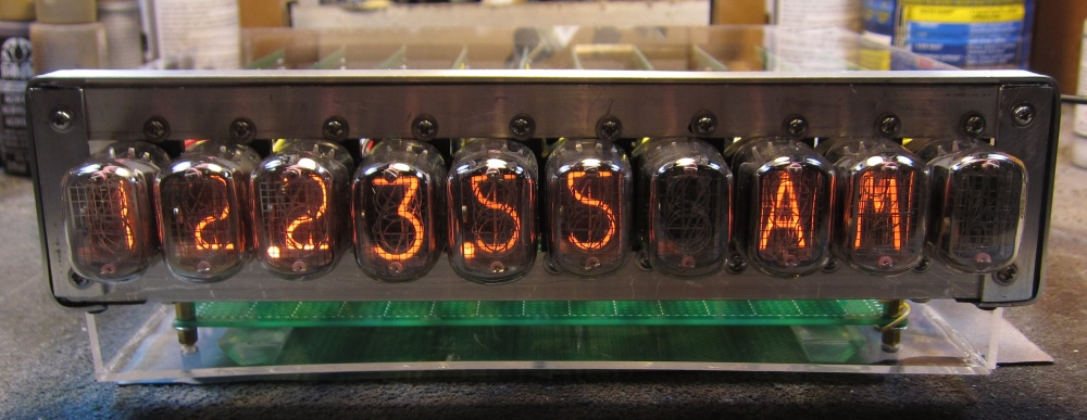 Not Your Average Nixie Clock, front and center